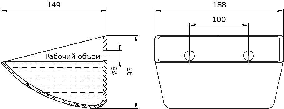 Ковш норийный полимерный Euro JET 18-140 чертеж