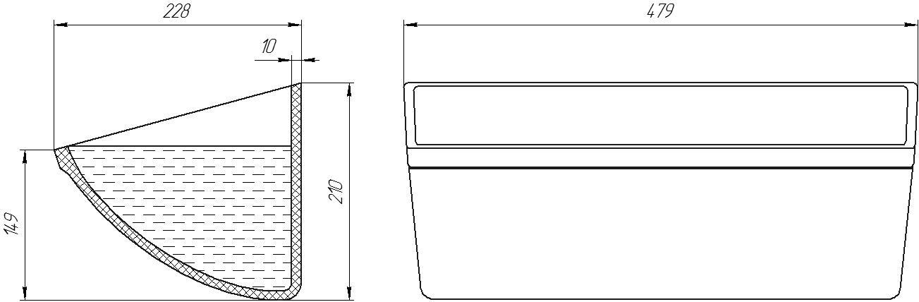 Ковш норийный полимерный CC-S 18х8 чертеж