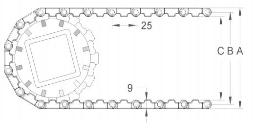 Модульная конвейерная лента S.25-100 чертеж