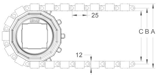 Модульная конвейерная лента с фрикционными вставками S.25-400 F/2 чертеж