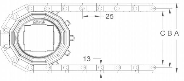 Модульная конвейерная лента S. 25-402 чертеж