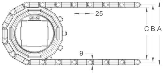 Модульная конвейерная лента S. 25-406 чертеж