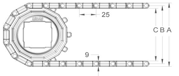 Модульная конвейерная лента S. 25-408 чертеж