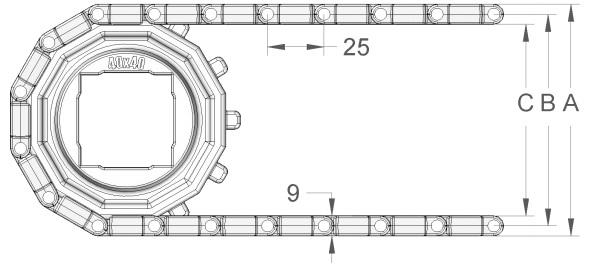 Модульная конвейерная лента S. 25-411 чертеж