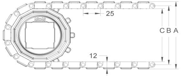 Модульная конвейерная лента S. 25-412 чертеж
