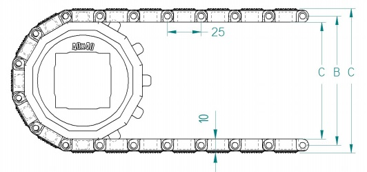 Модульная конвейерная лента S. 25-418 чертеж