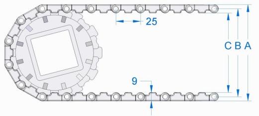 Модульная конвейерная лента S. 25-600 чертеж
