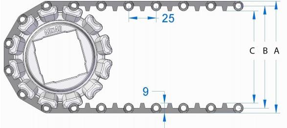Модульная конвейерная лента S. 25-800 чертеж