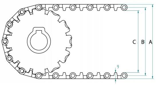 Модульная конвейерная лента S. 25-801 чертеж
