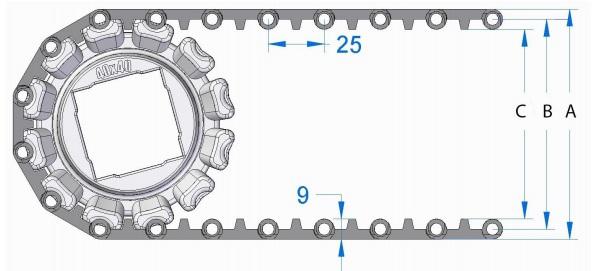 Модульная конвейерная лента S. 25-806 чертеж