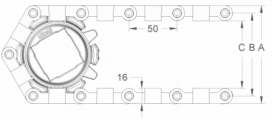 Модульная конвейерная лента S.50-100 чертеж