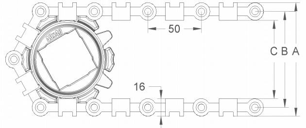 Модульная конвейерная лента S.50-300 чертеж