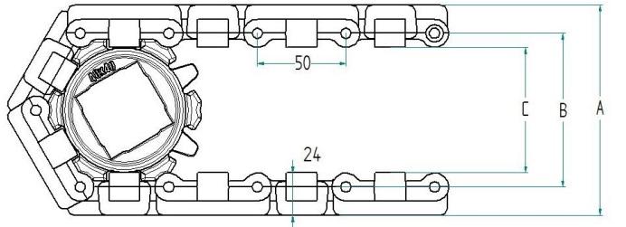 Модульная конвейерная лента S.50-220 чертеж