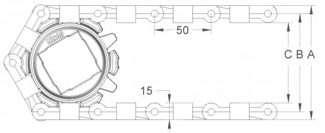 Модульная конвейерная лента S.50-600 чертеж