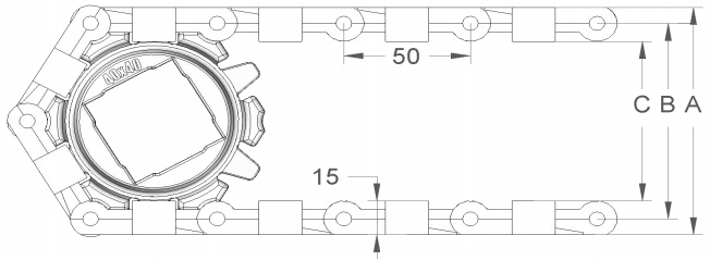 Модульная конвейерная лента S.50-606 чертеж