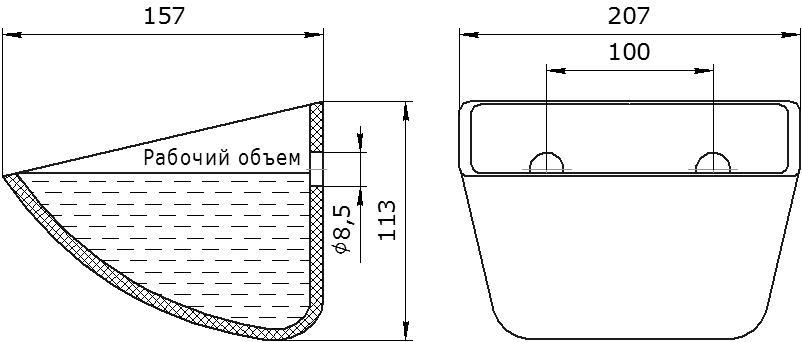 Ковш норийный полимерный Jet 20-140 чертеж