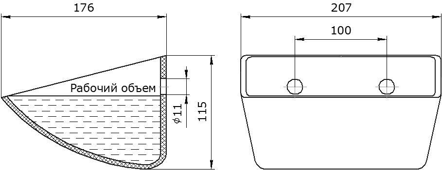 Ковш норийный полимерный Euro JET 20-165 чертеж