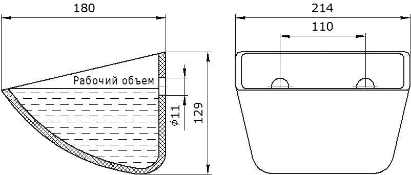 Ковш норийный полимерный Jet 23-170 чертеж