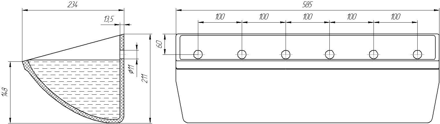 Ковш норийный полимерный JCC-S 22х8 чертеж