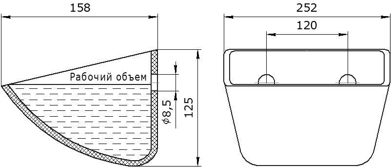 Ковш норийный полимерный Jet 23-145 чертеж