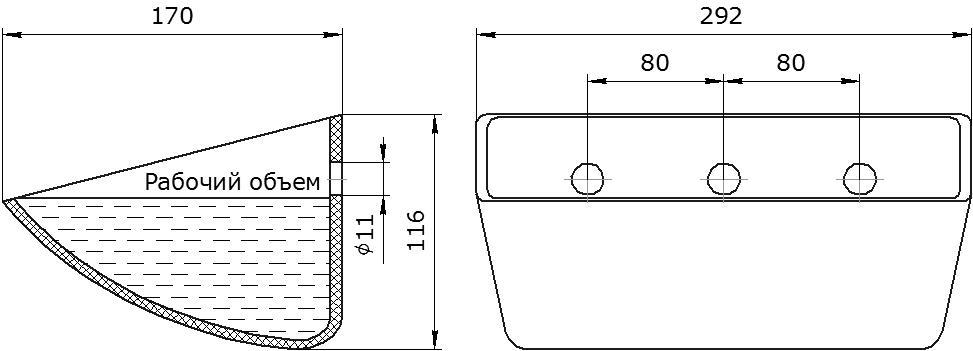 Ковш норийный полимерный Euro JET 28-165 чертеж