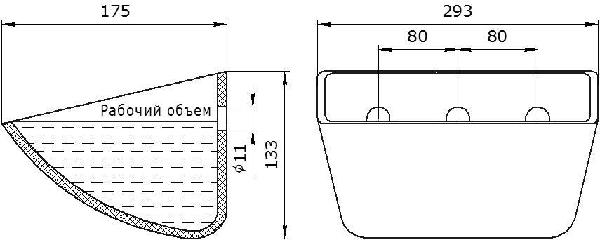 Ковш норийный полимерный Jet 28-170 чертеж