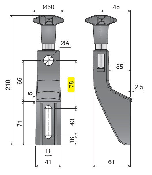 Боковой кронштейн конвейера серии 302 чертеж