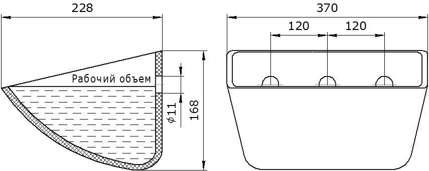 Ковш норийный полимерный Jet 35-215 чертеж