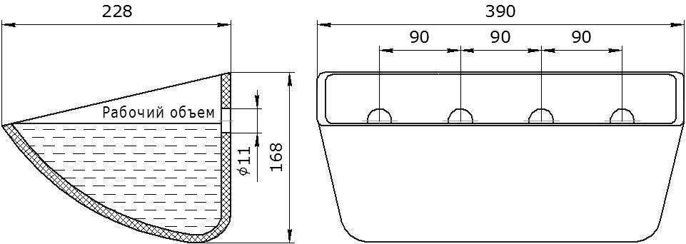 Ковш норийный полимерный Jet 37-215 чертеж