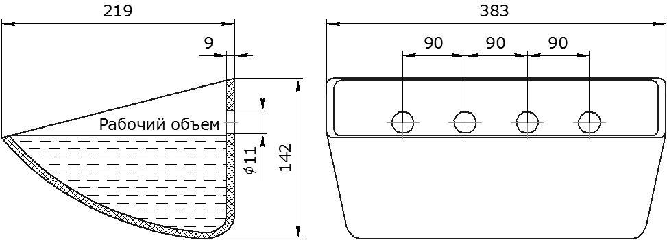 Ковш норийный полимерный Euro JET 37-215 чертеж
