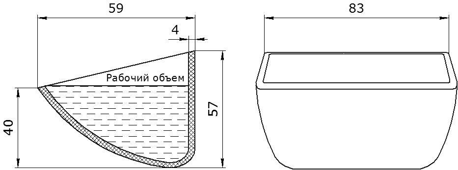 Ковш норийный полимерный HD-MAX 3x2 чертеж