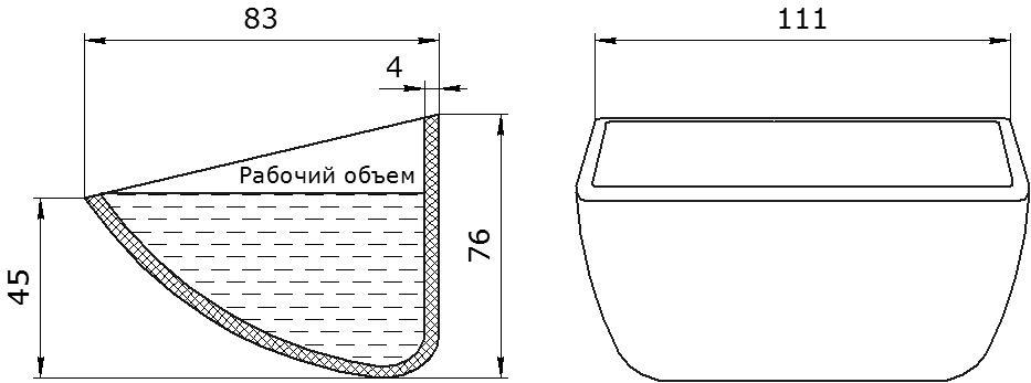 Ковш норийный полимерный HD-MAX 4х3 чертеж