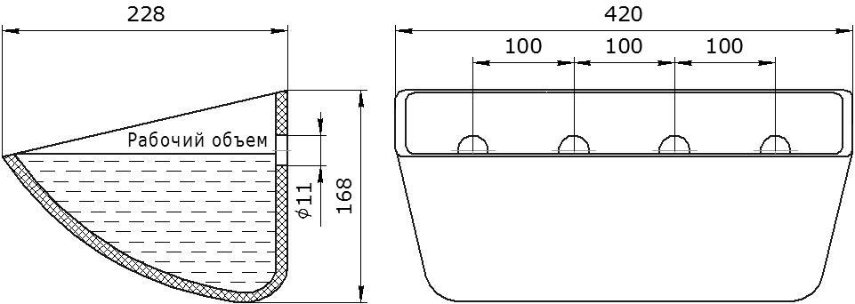 Ковш норийный полимерный Jet 40-215 чертеж