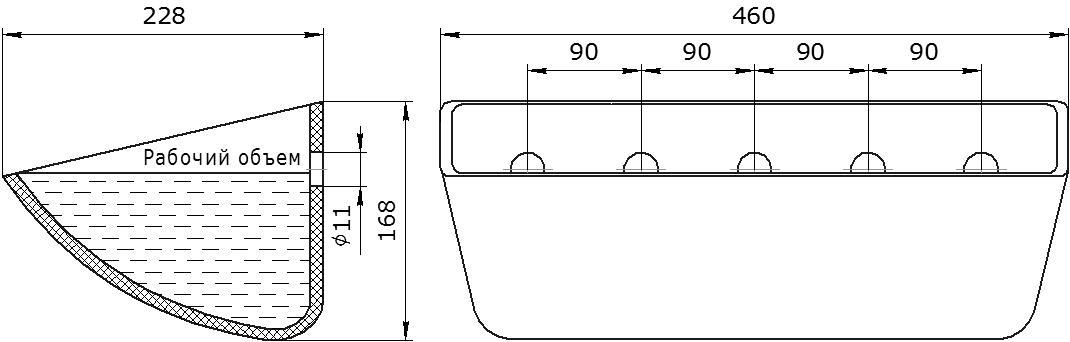 Ковш норийный полимерный Jet 44-215 чертеж