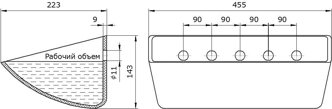 Ковш норийный полимерный Euro JET 44-215 чертеж