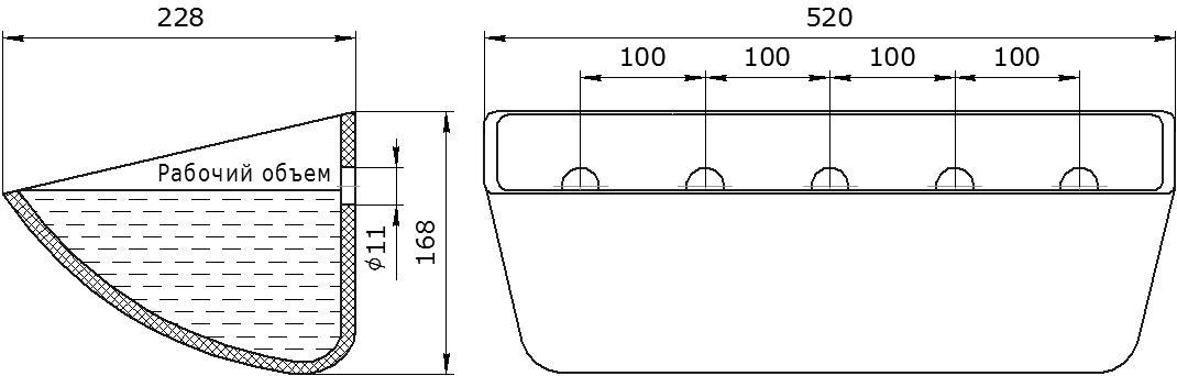Ковш норийный полимерный Jet 50-215 чертеж