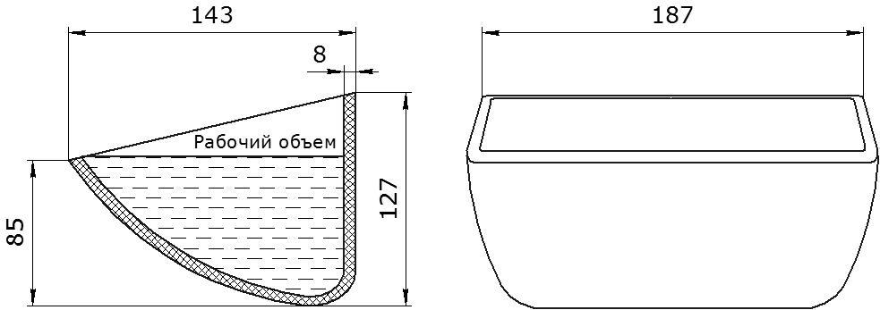 Ковш норийный полимерный HD-MAX 7x5 чертеж