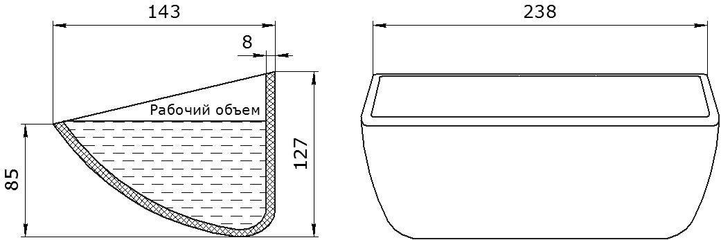 Ковш норийный полимерный HD-MAX 9x5 чертеж