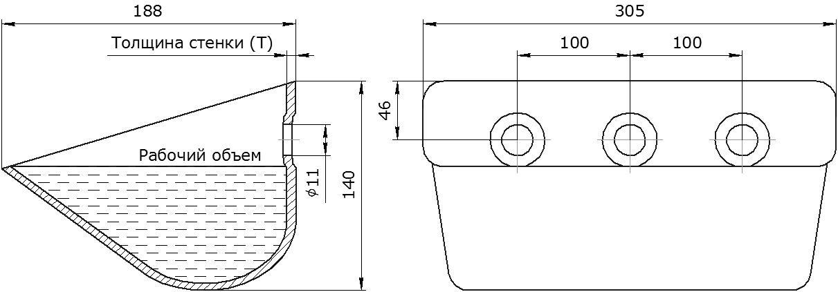 Ковш норийный металлический цельнотянутый ETS-4A чертеж