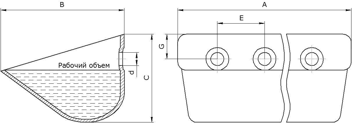 Ковш норийный серии ETS и КАИБ - общий чертеж