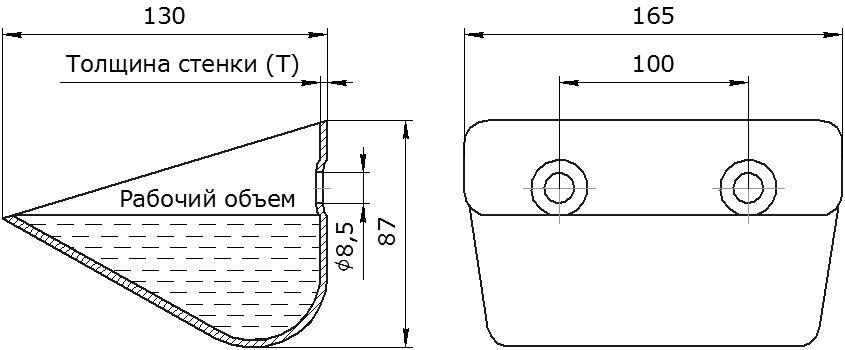 Ковш норийный металлический цельнотянутый EURO JET 16-130 чертеж