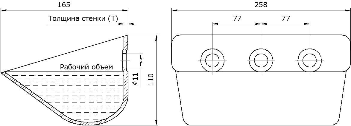 Ковш норийный металлический цельнотянутый EURO JET 25-165 чертеж