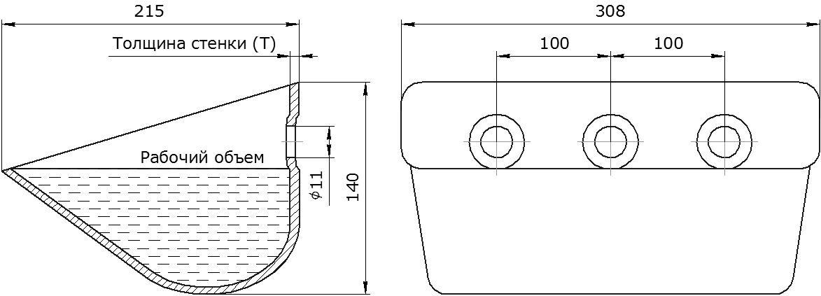 Ковш норийный металлический цельнотянутый EURO JET 30-215 чертеж