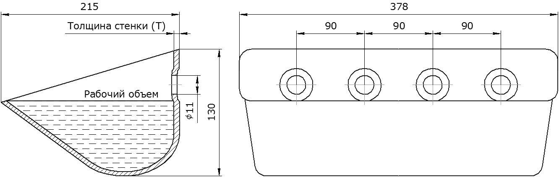 Ковш норийный металлический цельнотянутый EURO JET 37-215 чертеж