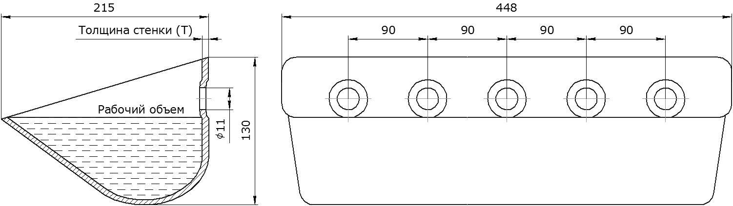 Ковш норийный металлический цельнотянутый EURO JET 44-215 чертеж