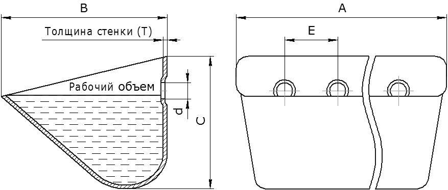Ковш норийный металлический цельнотянутый тип JET