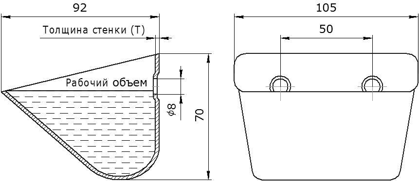 Ковш норийный металлический цельнотянутый JET 10-090 чертеж