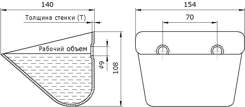 Ковш норийный металлический цельнотянутый JET 15-140 чертеж