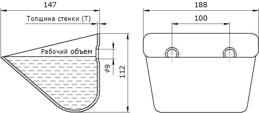 Ковш норийный металлический цельнотянутый JET 18-140 чертеж