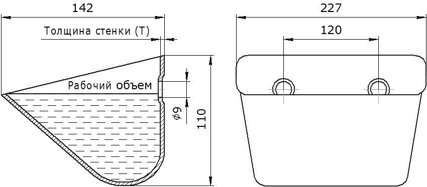 Ковш норийный металлический цельнотянутый JET 22-140 чертеж